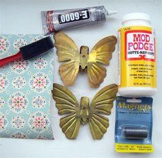 Upcycled wallpaper butterfly magnets DIY .... http://www.modpodgerocksblog.com/2011/02/guest-blogger-mitzi-from-mitzis.html