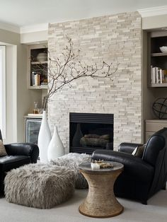 Transitional Living Room Design Ideas - Browse transitional living room enhancing ideas as well as furnishings layouts. Discover design ideas from a range of transitional living rooms consisting of shade . - June 15 2019 at Home Fireplace, Trendy Living Rooms, Fireplace Design, Living Room With Fireplace, Contemporary Living Room, Contemporary Living Room Design, Contemporary Living, Fireplace Surrounds, Transitional Living Room Design