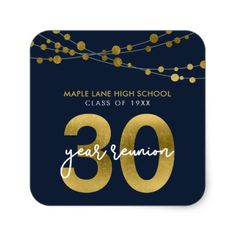 Blue Strings of Lights 30 Year School Reunion Square Sticker - customize create your own #personalize diy & cyo