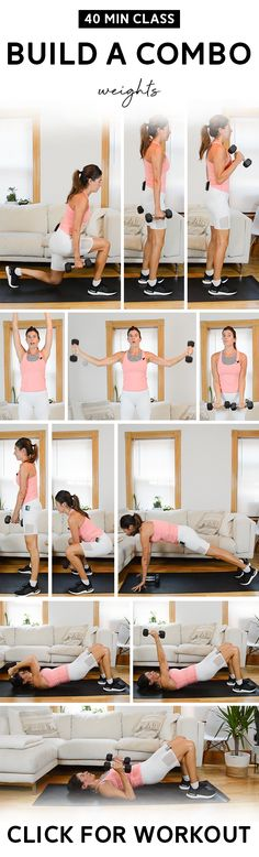Build a Combo Class (40 Mins) - Total Body, Weights | In this class, we'll build four sequences of exercises gradually over 2-minute intervals. Pair of medium weights needed. #workout #fitness #homeworkout #strengthtraining #nicolepearce Hiit Workout Videos, Fun Workouts, Workout Classes, Circuit Workouts, Total Body, Full Body, Belly Fat Workout, Workout Challenge, Workout Fitness