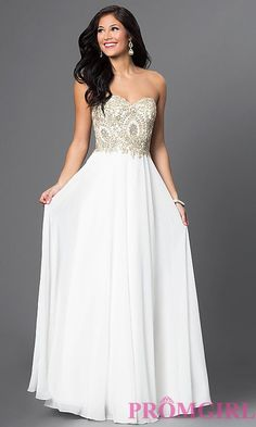 a835b22fc43 Image of long sweetheart chiffon dress with beaded bodice Style  DQ-9502  Front Image