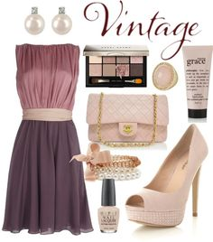 """Vintage Purple + Pink + Cream"" by jemevangelista on Polyvore"