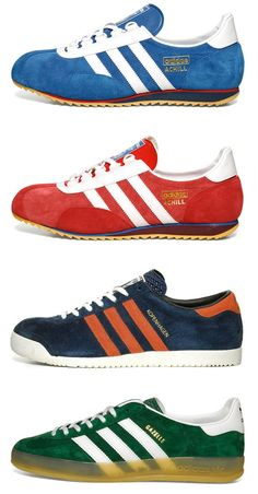 Adidas Archive Pack – Part II :: endclothing UK Vintage Sneakers, Retro Sneakers, Vintage Shoes, Adidas Fashion, Sneakers Fashion, Fashion Shoes, Adidas Retro, Vintage Adidas, Sergio Tacchini