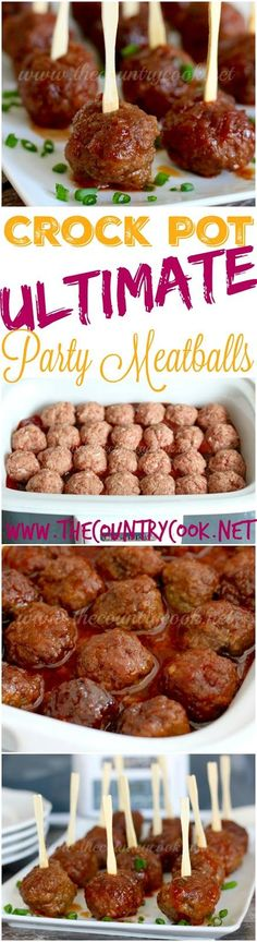 The *ULTIMATE* Crock Pot Party Meatballs recipe from The Country Cook. An AMAZING homemade meatball recipe! The glaze that it cooks in is to die for. Our new favorite! Perfect for holiday parties or tailgating or whenever.