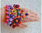 statement tribal cuff, ooak ethnic wristband, colorful bracelet, crochet jewellery,multicolor tribal orange turquoise cuff,freeform crochet