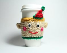 Elf coffee cozy Holiday coffee sleeve handmade by #MsAmandaJayne would be the perfect #holidaygift for the coffee lover on your list!