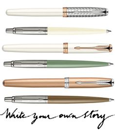 Slick pens. I really want the white + rose gold one!!!!