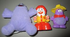LOT OF 3 VINTAGE 2001 MCDONALD'S UNDER 3 TODDLER TOYS FISHER-PRICE HAMBURGLAR,RO #McDonalds
