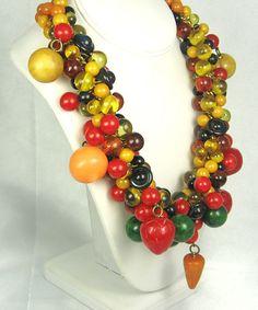 Hattie Carnegie Vintage Chunky Bakelite Fruit Necklace RARE /899