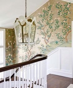 View hallway photography of luxury lighting fixtures by The Urban Electric Company. All fixtures bench-made at its factory in Charleston, SC. Spiral Staircase Dimensions, Spiral Staircase Kits, Staircase Landing, Staircase Ideas, Foyer Wallpaper, Chinoiserie Wallpaper, Urban Electric, Traditional Interior, Luxury Lighting