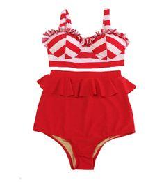 White Red Stripe Midkini Top and Red Fringe High Waisted Waist Skirt Bottom Swimsuit Bikini Swimdress Swimwear Summber Trend Beachwear S M