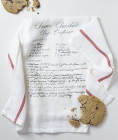 DIY Recipe Dish Towel: Instructions on how to print a family recipe onto a dish towel. You'll need the recipe, a dish towel, scanner, printer, transfer paper, and iron.  Fun idea for gifting an heirloom recipe to family members.