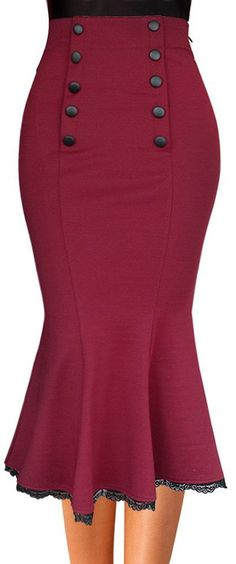 Vfemage Elegant High Waist Bodycon Pencil Midi Skirt