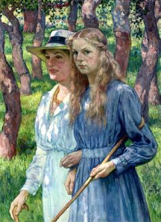 Théo (Théophile) van Rysselberghe (Belgian artist, 1862–1926) Mrs. Schlumberger and her Daughter