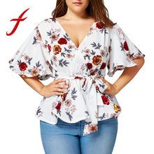 Fashion women's blouse Floral Print Plus Size Belted Surplice Peplum Blouse V-Neck Tops blusas mujer de moda 2019 Top Fashion, Curvy Women Fashion, Women's Fashion Dresses, Plus Size Fashion, Womens Fashion, Fashion Boots, Style Fashion, Fashion Design, Floral Tops
