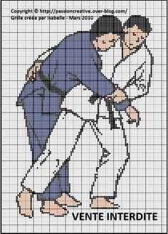 Grille gratuite point de croix : Judo Judokas
