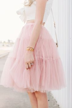 Pretty pink tulle skirt.