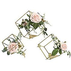 Buy Ling's moment Set of 3 Gold Geometric Wedding Centerpieces Ornaments Blush Rose Flower Table Centerpieces for Wedding Party Decor Geometric Decor, Geometric Wedding, Geometric Jewelry, Flower Decorations, Wedding Decorations, Decor Wedding, Table Decorations, Rose Centerpieces, Centerpiece Ideas