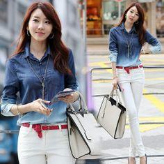 High Quality Denim Blouse 2014 Spring S-3XL Women's Jeans Camisa Jeans Feminina Gradient Women Blouses and Shirt US $16.99