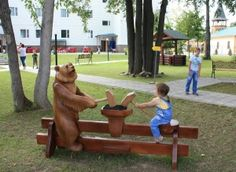 A bear is one of Russian symbols. Bogorodskoye is the motherland of famous Russian toy.