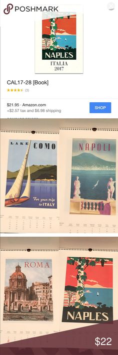 Naples Italia Art Poster Cavallini & Co. Calendar Collection of Italian vintage posters featuring various cities/areas. Of course, Italy is always remarkable and so are these frame-worthy pieces of art. Each month reminds us of beautiful Italy - we reminisce of places we've visited or wish to visit. We like because the poster part is large with frame-able quality poster. The calendar portin is small at the bottom *Disclaimer some days are highlighted, especially the month of Nov & Dec. lots…