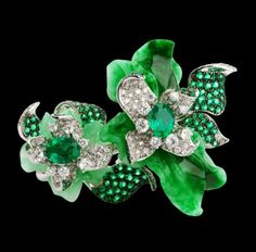 Jade , emerald, and diamonds ring by Orlov Jewelry