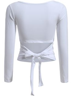 White Round Neck Knotted Back Crop T-Shirt