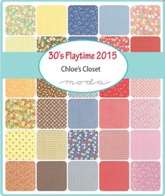 30s Playtime 2015 cotton jelly roll fabric by Chloes closet for moda fabric This listing is for 40 -2 1/2 x44 cotton strips of the collection.