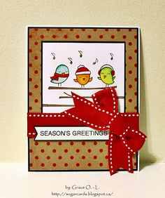 Lawn Fawn - Winter Sparrows _ sweet card by Grace at sugar cards: tweets and polka dots