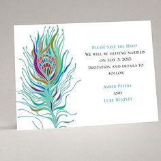 Nouveau Peacock - Save the Date Card | Invitations By Dawn