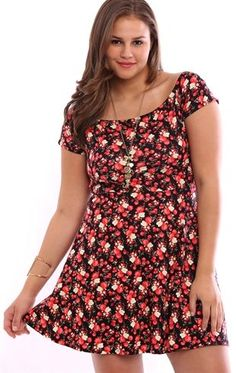 Deb Shops Plus Size Off the Shoulder Skater Dress with Small Floral Print $12.50