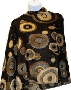 Brown Circle Pashmina Silk Shawl Teramasu. $39.95