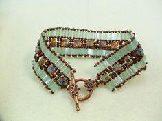 Seafoam green and copper tila bracelet by skylargrace on Etsy, $40.00