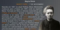 Marie Curie nasceu na atual Polônia e foi a primeira mulher a ganhar o Prêmio Nobel. Entre suas descobertas estão os elementos Rádio e Polônio.