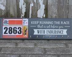 Running Medals Hanger and Bib Rack Holder -  Bible Verse - Keep Running the Race Hebrews 12:1 - Inspirational Medal Hanger