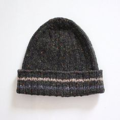 b847a9cb Men's ribbed wool hat is hand knitted with medium weight flecked Donegal merino  wool.