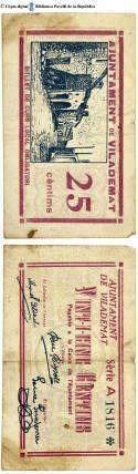 Vilademat - 25 cts. : Ajuntament de Vilademat, 25 cèntims : pagable a la Caixa de l'Ajuntament :: Paper moneda del Pavelló de la República (Universitat de Barcelona) Balearic Islands, Baseball Cards, Box, Spain, Period