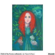 Child of the Forest, redhaired girl, green shades Poster #red, #hair, #haired, #green, #forest, #magical, #fantasy, #art, #orange, #green, #ginger, #celtic, #irish, #dryad, #ireland, #girl, #painting, #drawing, #fairytale, #pagan, #child, #pastel, #redhead, #emerald, #faerie, #bird, #kid, #hair, #red, #magic, #goddess, #folklore, #ancient, #legend, #fairy, #Erin, #stpatrickday,  #st, #saint, #patrick, #patricks, #day, #print, #artprint, #wallart, #poster