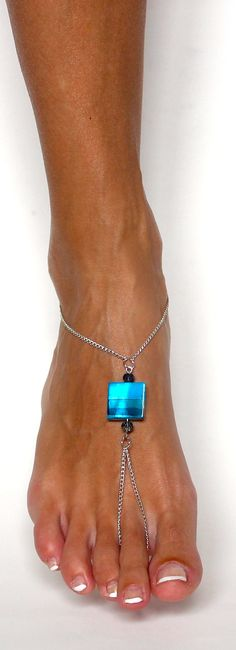 Aqua / Turquoise Chained Barefoot Sandals by BareSandals on Etsy