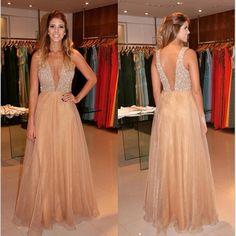 2016 Long Champagne Bridesmaid Dress,Elegant Long Deep V Neck Prom Dresses
