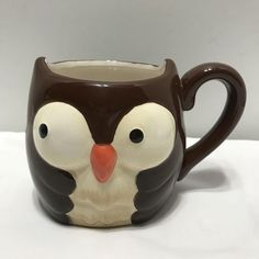 Ceramic Owl Coffee Mug By Oversized Cup Brown White Black Colors | Collectibles, Decorative Collectibles, Mugs, Cups | eBay!