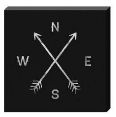 "Compass Arrow Art 20"" x 20"" - Digital Canvas Print"