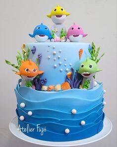 Baby Girl Birthday Cake, Shark Birthday Cakes, First Birthday Cakes, Card Birthday, Birthday Greetings, Birthday Ideas, Happy Birthday, Cake For Baby Girl, Birthday Cakes Girls Kids