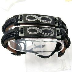 Personalized leather braceletcouple infinity by newyorkcustommade