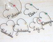 Custom Name Wine Glass Charms - Wedding Favor Wine Glass Charms,  Bridal Party Wine Glass Charms, Unique Wedding Favor, Rustic Wedding Favor. $6.00, via Etsy.
