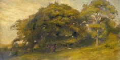 "Oil painting from the Fine Art collection. ""Sussex Landscape"" by Charles Gogin, showing a wooded area with a variety of trees."