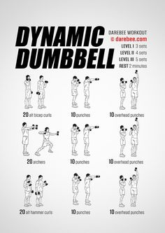 Dynamic Dumbbell Workout Nothing quite makes muscles and tendons work harder than the addition of a dumbbell to a workout. Dynamic Dumbbell lives up to its billing but there's a caveat in the workout. Listen to your body do not force the movements beyond Gym Workout Tips, Biceps Workout, At Home Workouts, Dumbbell Exercises, Kickboxing Workout, Home Dumbbell Workout, Arm Workout Men, Sandbag Workout, Push Workout