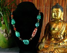 Turquoise Necklace  Dzi Bead  Ethnic by ByDivineCollectibles, $95.00