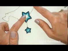 PEYOTE TEKNİĞİ YILDIZ KOLYE YAPIMI /STAR NECKLACE/PART 1/asansörlü kolye - YouTube Bead Embroidery Tutorial, Beaded Embroidery, Beaded Jewelry Patterns, Beading Patterns, Bead Loom Designs, Native American Patterns, Beaded Ornaments, Peyote Stitch, Loom Beading