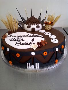 180 Degrees Catering and Confectionery African Traditional Wedding, Traditional Wedding Cakes, African Cake, African Hut, African Safari, Congratulations Cake, Chocolates, Jungle Cake, Safari Decorations